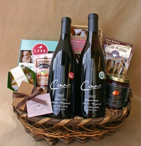 Carr Two Bottle Pinot Noir and Pinot Gris Basket