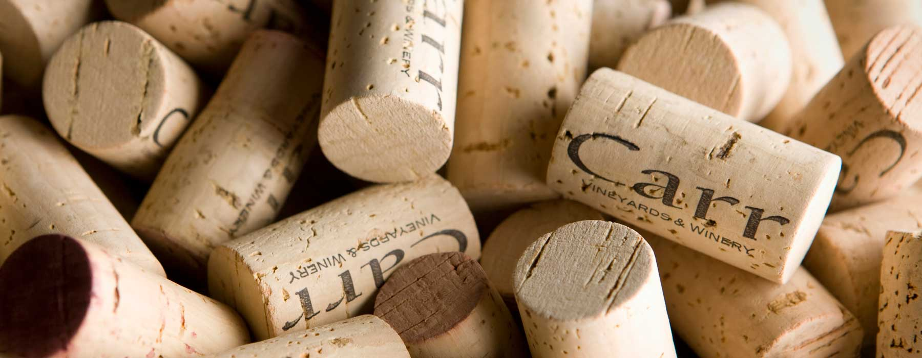 A bunch of Carr Winery corks