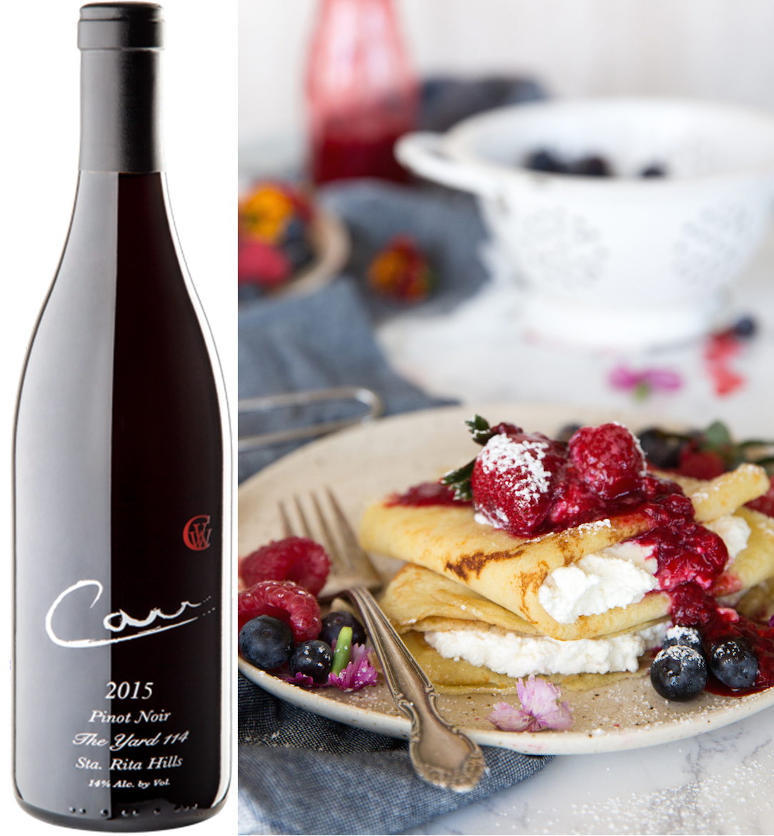 Raspberry and Ricotta Crêpes - Carr Vineyards and Winery