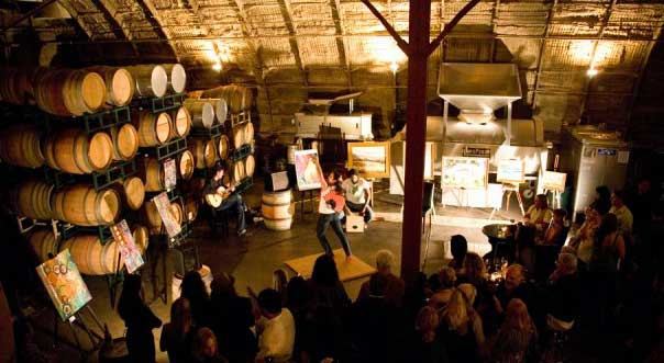 An event in the barrel room at Carr Winery
