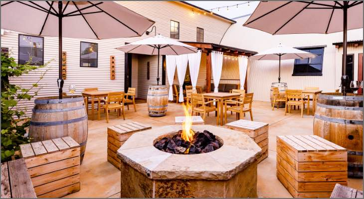 The Fire Pit on the Patio at Carr Winery in Santa Barbara