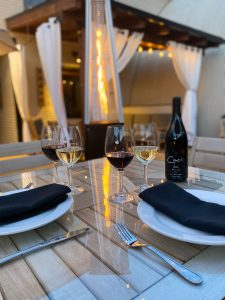 Patio Table at Carr Winery in downtown Santa Barbara with wine glasses