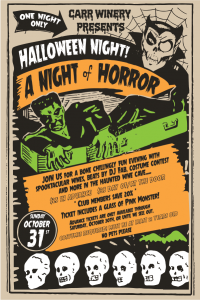 carr winery halloween poster with skulls and monsters