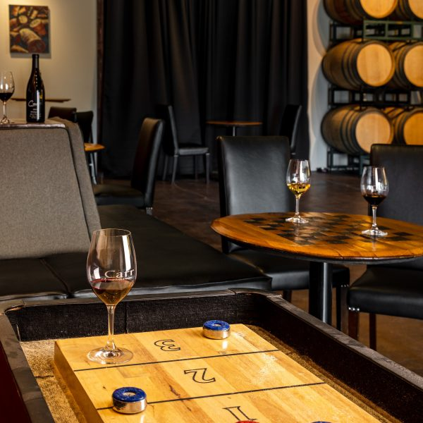 Indoor shuffleboard table and chess board wine table at Carr Winery in Santa Ynez